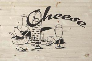 Cheese print op steigerhout