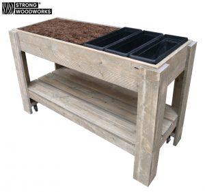 Verrijdbare planten-kweektafel van steigerhout