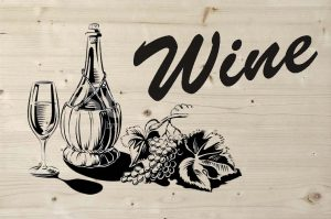 Wine print op steigerhout