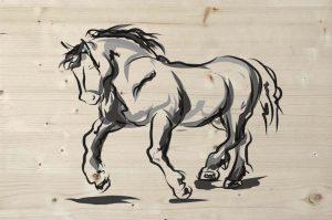 horse print op steigerhout