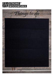 wandbord met schoolbordverf van steigerhout