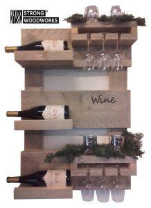wand wijnrek van steigerhout