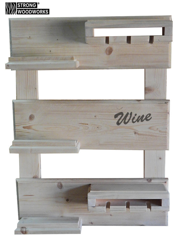 "Wandbord wijnrek onbehandeld steigerhout type ""Classic"" Met gefreesde sierranden"